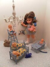 Vintage 1970s Fiba Doll Made in Italy Beds Highchair 6 Dolls Set ES Germany