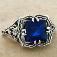 2 CT LAB SAPPHIRE .925 STERLING VINTAGE ANTIQUE DESIGN SILVER RING SIZE 9,#745