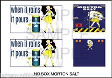 HO SCALE  UNIQUE PEEL & STICK CLASSIC METAL WORKS MORTON SALT CUSTOM DECAL SET