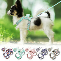 Fashion Floral Dog Strap Harness and Leads set Pet Cat Vest Chihuahua Schnauzer