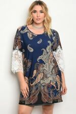 Women's Plus Size Navy Blue Paisley Print Dress Lace Butterfly Sleeves 3XL NEW