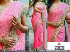 Indian Bollywood Ethnic Bollywood Designer Pink Saree Party Sari Embroidery
