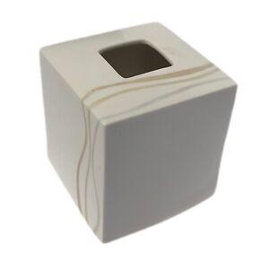 Kleenex cover Croscill ceramic tissue box disguise white beige porcelain home