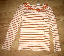 Gymboree Girls Long Sleeve Shirt Orange Striped Bows Size 12