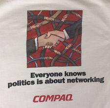 Compaq Networking Politics T-Shirt XL White Handshake Computing Computer