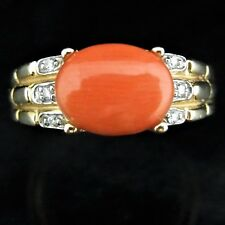 LeVian Estate Coral Diamond 14k Yellow Gold Cocktail Ring Vintage Signed