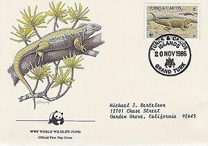 TURKS & CAICOS 1986 4 FDC - ROCK IGUANAS - NEST WITH EGGS - WORLD WILDLIFE FUND