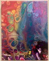 Original Acrylic Abstract Painting Metallic Canvas Rainbow Decor Home Artwork