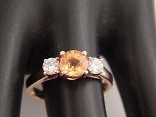 14k Rose Gold AAA Ceylon Yellow Sapphire Diamond Ring 1.36 tcw 3Stone Engagement