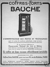 PUBLICITÉ DE PRESSE 1925 COFFRES-FORTS BAUCHE OFFICIELLEMENT INVIOLABLE