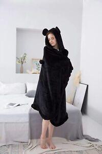 Black Cloak Style Blanket Black Fluffy with Hood & Ears Lounge Wear AGE UK