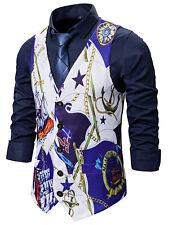 Men's Waistcoat Vintage Vest Casual Suit Golden Chain Sailboat Print UK