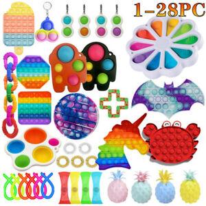1-28PC Popit Bubble Fidget Sensory Toy Set Autism ADHD Anti Stress Spielzeug DE