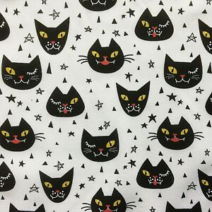 NEW! PolyCotton Fabric Halloween Spooky Cat Star White Black Yellow Red Material
