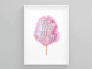 Life Is Tough But So Are You Wall Art Feminist Gift Activism Art Wall Art Quotes