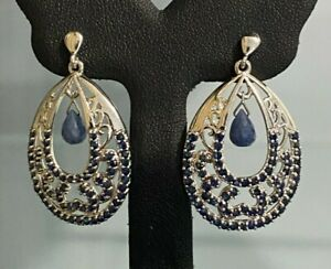 10CT Solid Gold & Sapphire Drop Earrings 8.45g / 37.60mm