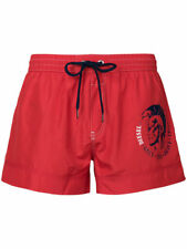 Diesel Swim Shorts Beach Wave Red Navy Mohican Head Fold & Go Graphic Short