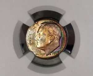 1963-D Roosevelt Dime NGC MS67+ Color Rainbow Toned Only 5 Finer NGC LIST $575!