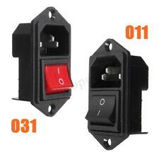3 Pin IEC320 C14 Inlet Module Plug Fuse w/ Switch Male Power Socket 10A 250V