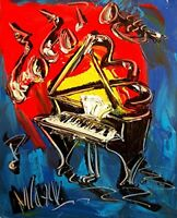 Impressionist  JAZZ RED BLUE Abstract Modern CANVAS Original  PAINTING  no res