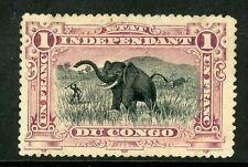 Belgian Congo 1894 $1.00 Franc Rose Lilac Elephant Mint Y307
