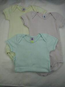 Set Of 3 Petit Bateau Short Sleeve Bodysuit Paste Colours 36 Months 95 cm Cotton