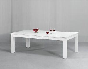 Billard PRONTO VISION 7 ft Billardtisch und Esstisch Klavierlack weiß Hochglanz