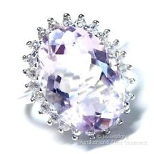 Echter 5,4 ct Amethyst & weißer Zirkonia Ring 925er Sterling Silber 17,2 Gr. 54