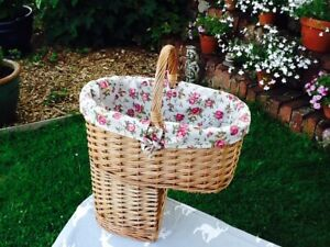 GORGEOUS DOUBLE STEAMED WILLOW STAIR BASKET WITH ROSE LINING.