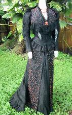 ORIGINAL HIGH VICTORIAN BUSTLE EVENING DRESS c.1880s JACK THE RIPPER ERA!