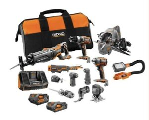 RIDGID 18-Volt Lithium-Ion Cordless 12-Piece Combo Kit with (1) 4.0 Ah Battery,