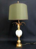 Mid century Brass opaline pineapple Leaf Table lamp attr Maison JANSEN 1960