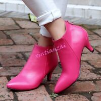Womens Kitten Stiletto Heels Ladies Ankle Boots Pointy Toe Shoes Party Formal