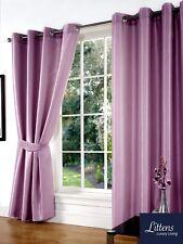 "66"" x 90"" Mauve Faux Silk Pair Curtains Eyelet, Ring Top, Lined Inc Tiebacks"