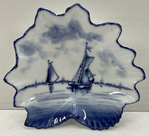 Porcelain Style Dish Sail Boats Blue & White Unsure Of Marking
