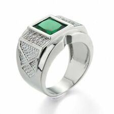 US SELLER MEN WHITE GOLD PLATED SQUARE EMERALD SIMULATED GEMSTONE RING SIZE 10