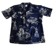 Hawaii Brand Hawaiian Shirt Men's Size M Dark Blue Made in Hawaii Floral Islands