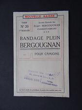 Catalogue BERGOUGNAN 1921 Clermont-Ferrand pneu tyre pneumatico no Michelin