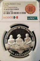 1987 MEXICO SILVER MEDAL 1 ONZA USA CONSTITUTION NGC PF 68 ULTRA CAMEO SCARCE