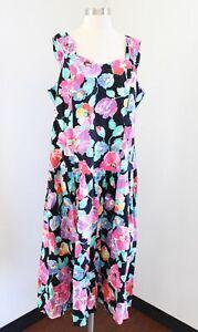 Vg 90s Black Colorful Floral Print Midi Dress Size 16W Retro Tea Cottage Core