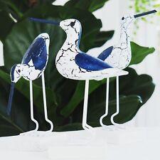 Sea Birds Shabby Chic Seagulls Navy White 3pc set Hamptons Coastal Home Decor