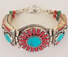 VINTAGE Tibetan Silver Turquoise & Coral LUXURY Bracelet Boho Cuff Nepal Bangle