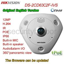 Orignal Hikvision DS-2CD63C2F-IVS 12MP 360° IR IK10 IP66 IO Mic Fisheye Camera