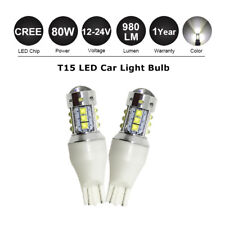Pair T15 W16W 921 White 80W Cree LED Parking Turn Signal Indicator Light Canbus