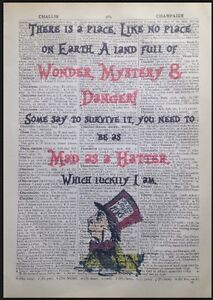 Mad Hatter Quote Vintage Dictionary Print Wall Art Picture Alice In Wonderland