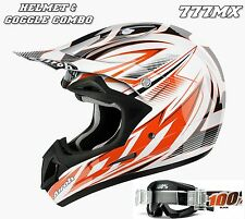 AIROH JUMPER STING MOTOCROSS ENDURO HELMET WHITE ORANGE *LARGE* & 100% GOGGLES