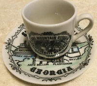 Vintage Souvenir Stone Mountain Ga. Mini Cup & Saucer Confederate Memorial
