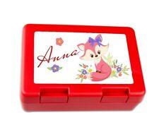 Brotdose Kinder mit Wunsch-Name süßer Fuchs für Mädchen in rot oder pink
