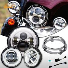 "7"" LED Daymaker Headlight Passing Light For Harley Davidson Touring Road King"