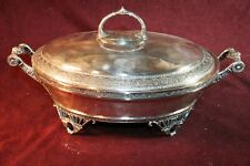 Antique Quadruple Silver Plated Covered Serving Piece w/ Stoneware Bowl Insert